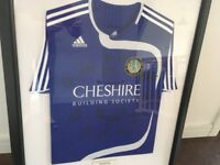 Macclesfield Town Football Signed Tshirt Collectable Framed Sports Memorablia