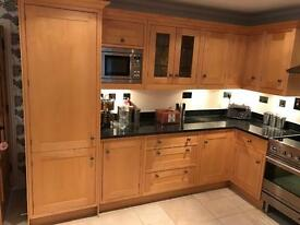 Large kitchen solid oak units and granite for sale