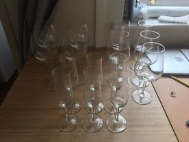 wine and champagne glasses x15