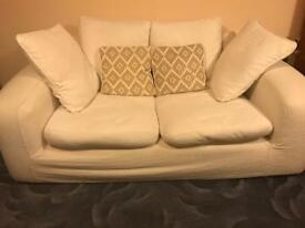 3 seater & 2 seater white sofas and chair