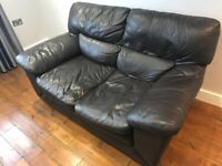 leather brown sofa two seater couch model 02