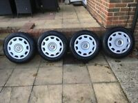 4 x Goodyear Ultragrip 8 195/65R15 91T Winter Tyres fitted to VW Passat Rims