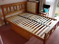 Solid Oak Slatted Double Bed Frame With 2 Matching Storage Drawers In Perfect Condition