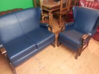beautiful antique high back two setter and high back armchair. excellent condition.