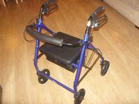Drive Medical R8BL-23 Lightweight Aluminium Padded Seat 4 Wheeled Walker Trolley / Rollator - Blue