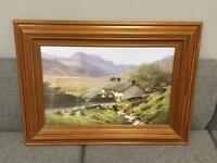 Lovely rare framed country mountain scene Print picture. SDHC
