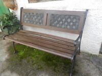 Metal and wood garden bench