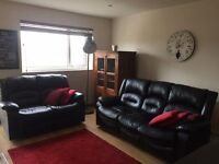 Furniture for sale incl. 3 & 2 seater sofas, desk & desk chair, bar stools, exercise bike