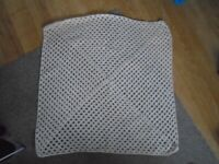 New Hand Made cream Crochet Baby Blanket aprox 25 inches square
