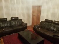 *FREE* DARK BROWN LEATHER SOFA (3 AND 2 SEATERS) *FREE*