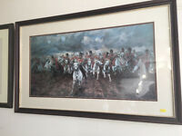 """Appealing Solid Wood Framed Print of """"Scotland Forever"""" By Lady Butler 1881"""