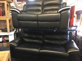 NEW / EX DISPLAY Black Leather Electric LazyBoy Soloman Recliners 3 + 2 Seater Sofas