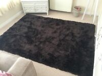 Large brown shaggy rug