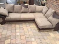 Brown and beige corner sofa with 2 seater sofa
