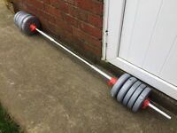BARBELL WITH 17KG OF YORK WEIGHTS