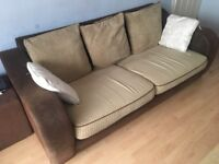 Lovely shaped arms chenille/suede effect 7ft long sofa