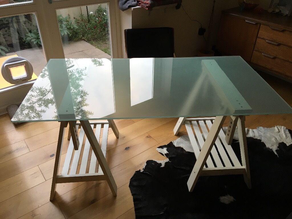Ikea Glass Top Desk With Trestle Legs Glasholm Finnvard