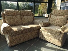 2 Piece Suite: Two Seater Sofa plus One Armchair. Suitable for small room or conservatory