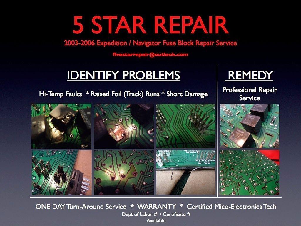 "2003-06 EXPEDITION NAVIGATOR ""PROFESSIONAL"" FUSE BOX REPAIR SERVICE ""WARRANTY"""