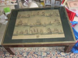 ORNATE 'ANTIQUE NAVAL VESSEL THEME PRINT SCENE' COFFEE TABLE. BRASS EDGED. VIEWING/DELIVERY POSSIBLE