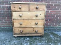 Old Antique Country Vintage Solid Pine Chest of Drawers