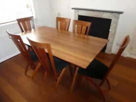 Solid Cherry Wood Dining Table and 6 Matching Chairs (Danish design)