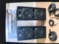 Dj speakers 1600 w and apm 2000w perfect for any party and wires all you need