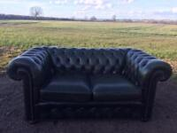 Beautiful Classic Chesterfield Green Leather 2 Seater Sofa