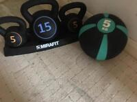 Kettle bells and weight ball £15