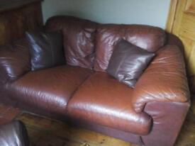 leather sofa, two seater, wineberry,