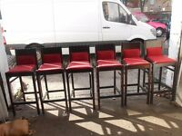 Red Fabric Bar Stools x 6 - £60.00 ONO
