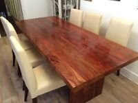 **Solid Oak Dining Table & 6 Leather Chairs**