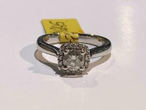 #198 14K WHITE GOLD HALO STYLE ENGAGEMENT RING .66CTW *SIZE 6* APPRAISED AT $4350 SELLING FOR $1295!