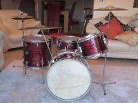Vintage 1960's Rare Beverley Maroon Ripple Drum Kit