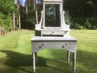 Hand Painted Vintage Dressing Table in Soft Grey