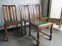 SET OF FOUR VINTAGE SOLID OAK DINING CHAIRS WITH CARVED DETAIL FREE DELIVERY
