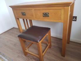 Natural Solid Oak Dressing Table and Stool