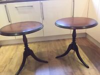 Dark Wood Mahogany round tables perfect for Up-cycling.