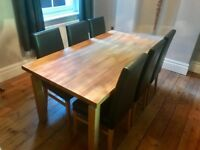 Solid Wood Dining Table + 6 Faux Leather Brown Chairs (John Lewis)