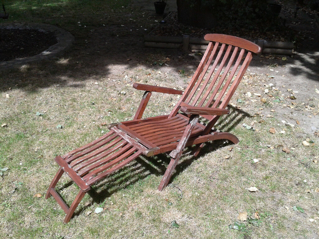 Reclining Garden Chair Outdoor Folding Wooden Deck Steamer Recliner Patio Free Local Delivery