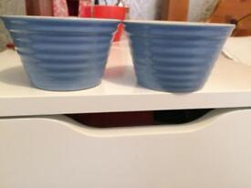 Two Blue and white little pots