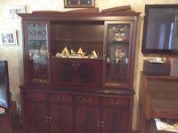 Mahogany effect wall display cabinet