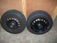 1 pair Wanli S1088 , 205 55 ZR 16 part worn tyres on rims , VW Golf MK4 ,Bora etc. 5 x 100 pcd