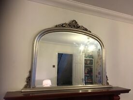 Mirror - over mantle - champagne silver