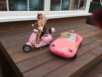 Barbie car and moped