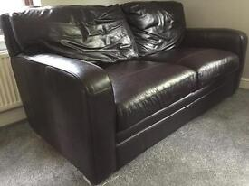 Three Seat Brown Leather Sofa FREE TO COLLECT