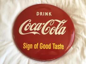 Vintage/Retro 1993 Coca Cola Round Metal Sign 41cm Diameter