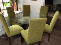 Marks and Spencer glass dining table with Crome base and 6 chairs