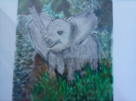 Trumpeting Elephant signed painting REDUCED!!