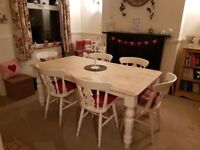 6FT Shabby Chic Cream table & chair set